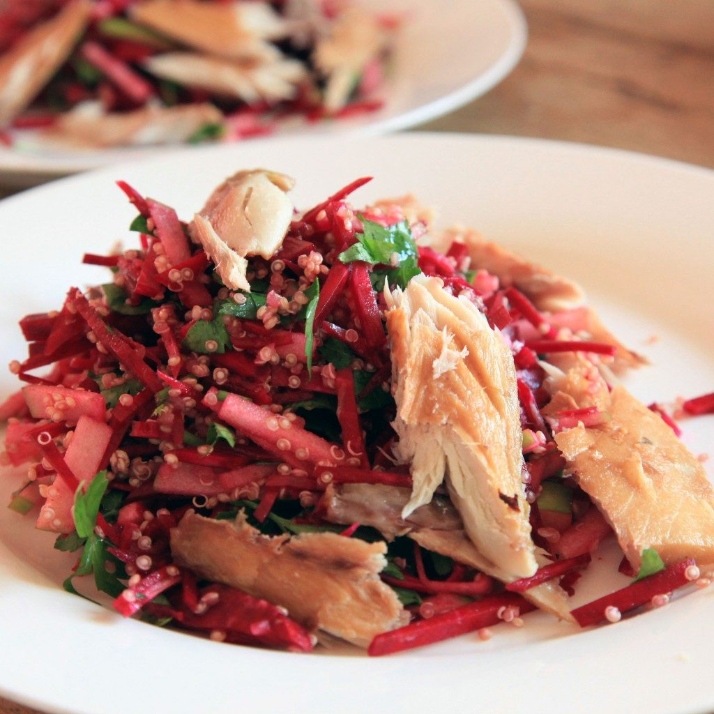 Biet makreel quinoa salade